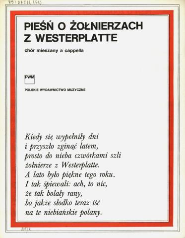 Pieśń O żołnierzach Z Westerplatte Chór Mieszany A Cappella