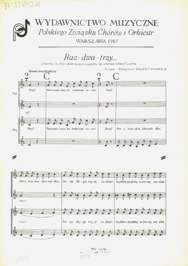 Raz Dwa Trzy Piosenka Na Chór Dziecięcy A Cappella